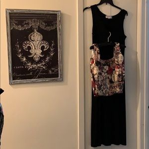 Black Acetate Spandex Dress & Holiday Tote Size 12